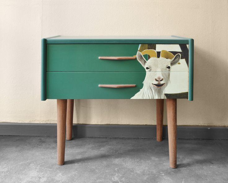 small dresser. Painted and decorated. Midcentury danish design. Scandinavian design.