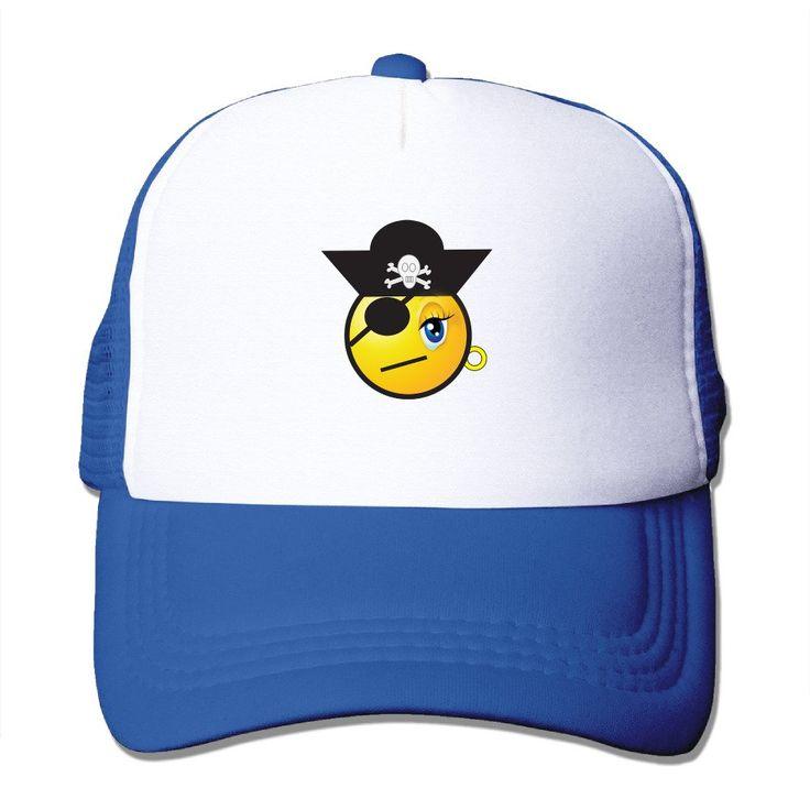 Unisex Smiley Girl Emoticon Pirate Good Vibes Adjustable Mesh Hat Trucker  Baseball Cap. Smiley Girl d6f62836ac20