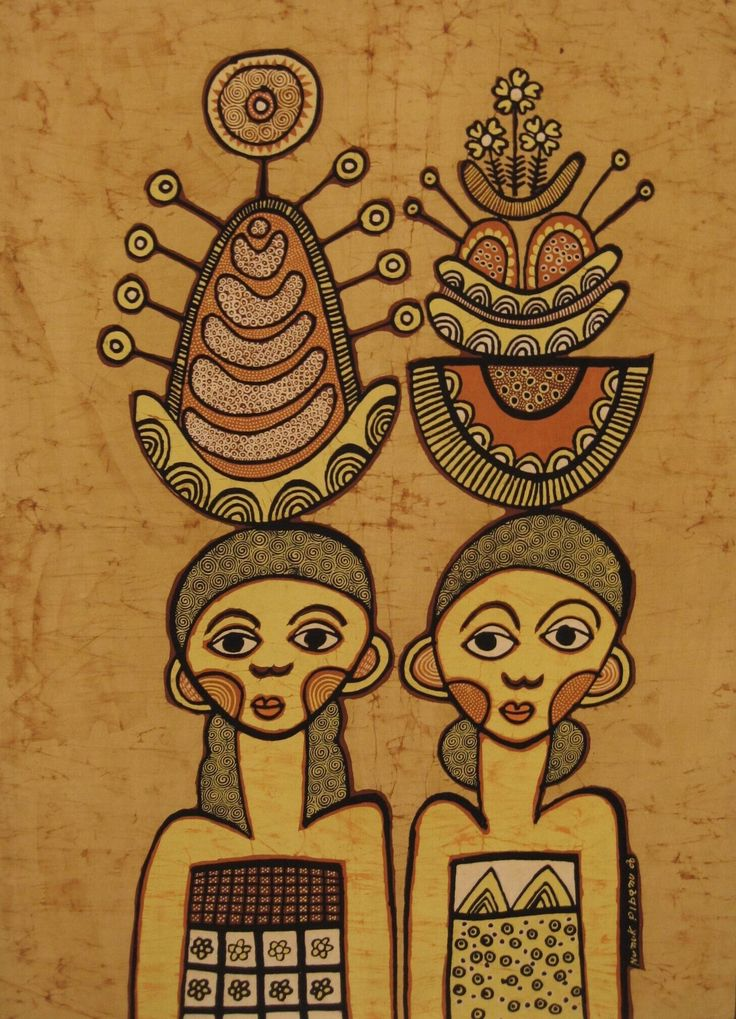 """Modern batik painting titled """"Balinese women with sacrifices"""" in the colors of light ocher, yellow and orange by Nunik Ribanu, Indonesia. Museon, CC BY"""