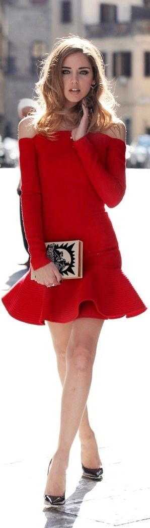 Long sleeve red off the shoulder dress with ruffled hem