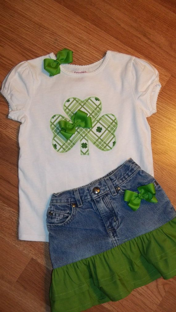 """Girls St. Patrick's Shamrock T-Shirt, Ruffled Skirt and matching 3"""" boutique Hairbow / Ready to Ship in 3 days!"""