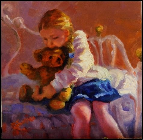 Me and My Teddy Bear , 8x8, oil on board, little girls, teddy bears, impressionist art, painting by artist Maryanne Jacobsen