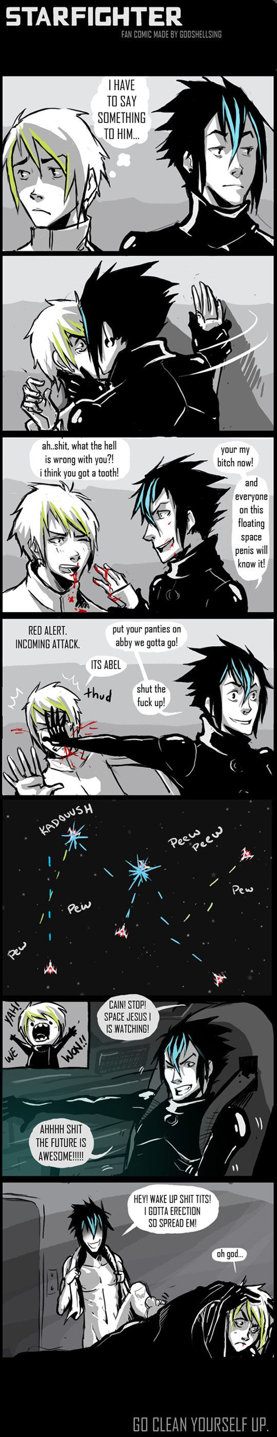 Starfighter- Cain and Able #WebComic #Yaoi for so reason this is really funny XD