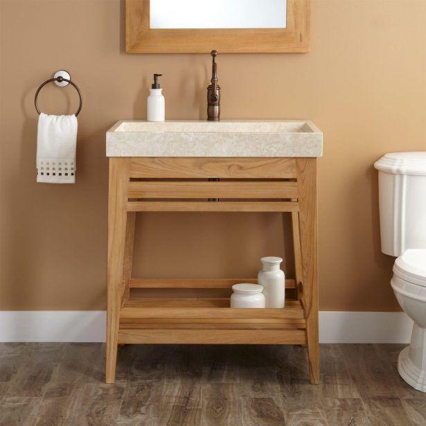 interior cool untreated teak wood trough sink vanity bathroom round metal wall mount towel hook bathroom
