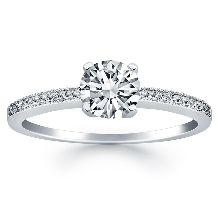 14k white gold classic diamond pave solitaire engagement ring - Wedding Ring Diamond