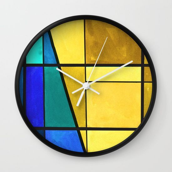 Abstract, modern, pattern, geometric, colorful Wall Clock