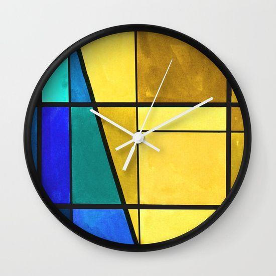 Abstract, modern, pattern, geometric, colorful Wall Clock
