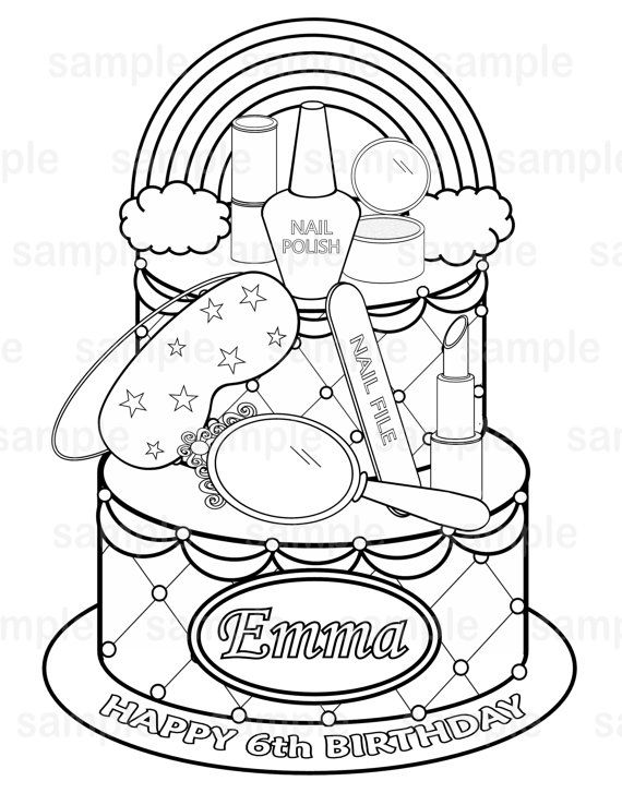 Personalized Printable Rainbow Spa party cake Favor childrens kids ...