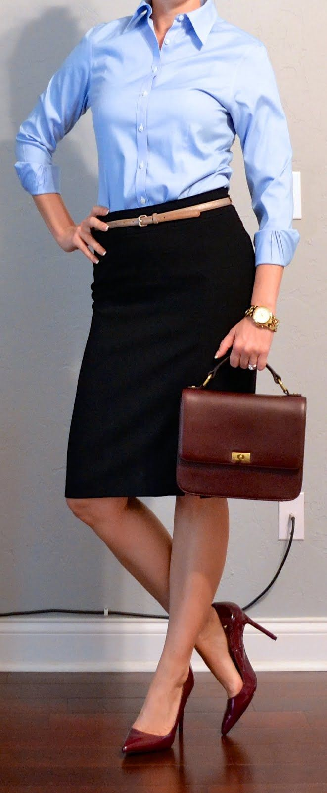 outfit post: blue button down shirt, black pencil skirt, burgundy pumps | Outfit Posts Dynamic
