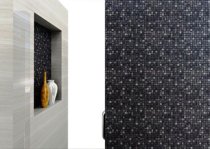 Beautiful tile - Black Mosaico tozzetto Platino e Ivory