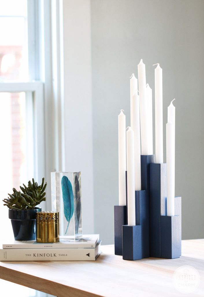 •❈• DIY Multiple Taper Candleholder. Inspired by Nate Berkus, learn how to make this on Inspired by Charm!