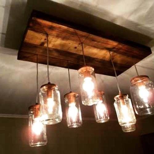 lampara de frascos de vidrio