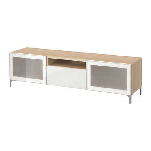 BESTÅ TV bench, white stained oak effect, Selsviken high-gloss/white frosted glass white stained oak effect/Selsviken high-gloss/white frosted glass drawer runner, push-open 180x40x48 cm