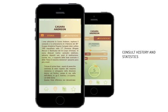 diQua, an app for exploring great war places in Italy. All rights reserved @Stella Morelli Thesis Project Iuav University of Venice.