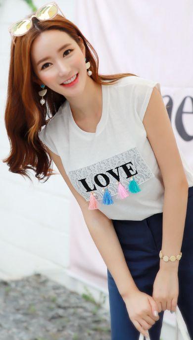 StyleOnme_LOVE Lettering Tassel Detail T-Shirt #cute #tee #koreanfashion #kstyle #kfashion #seoul #summerlook