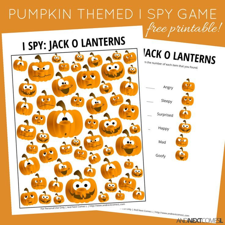 free jack o lantern halloween themed i spy game for kids from and next - Preschool Halloween Activities