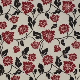 Red floral upholstery fabric - Lilly Passion by Charles Parsons Interiors #red #fabric #upholstery #floral #vine #charlesparsonsinteriors