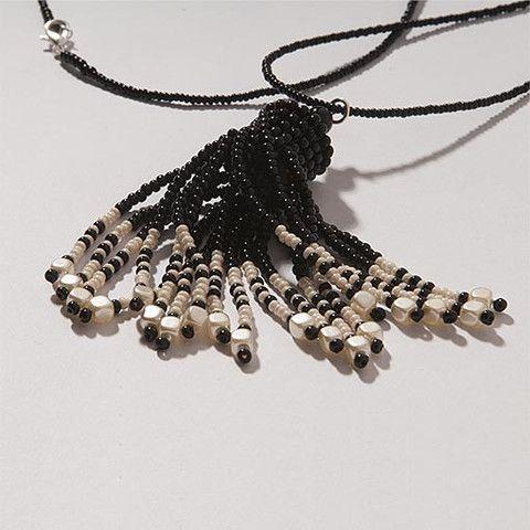 Handmade Black & Pearl Shimmering Tassel Necklace  At Anthoshop.com