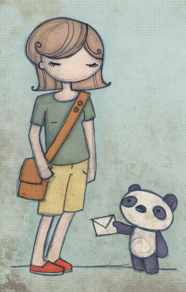 Panda Express by Liz Urso #panda #mail #letter #lizursoArt Elements, Pandas Illustration, Express Art, Art Prints, Art Ideas, Letters Lizurso, Urso Pandas, Pandas Express, Liz Urso