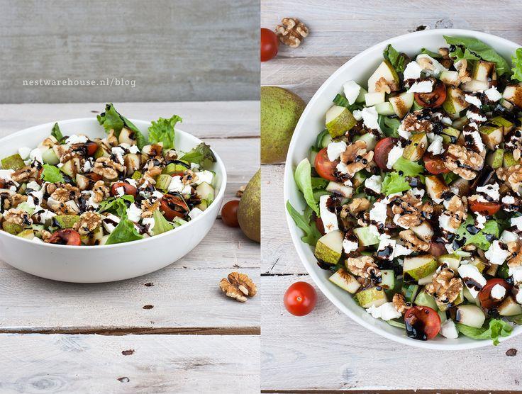 salade met geitenkaas, peer en balsamico glazuur - Recept op de Nest Warehouse blog