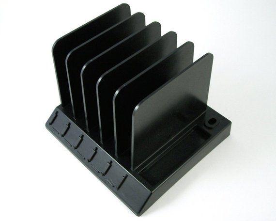 Desk Pal File Organizer Black Plastic Caddy 5 Slot Mail Sorter Pen Holder Paper Clip Coin Tray Vintage Office Desktop Letter File File Organiser Desk File Organizer Vintage Desk