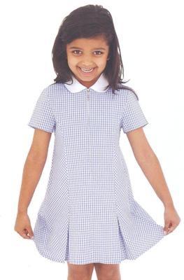 yellow dress ith hite collar uniform