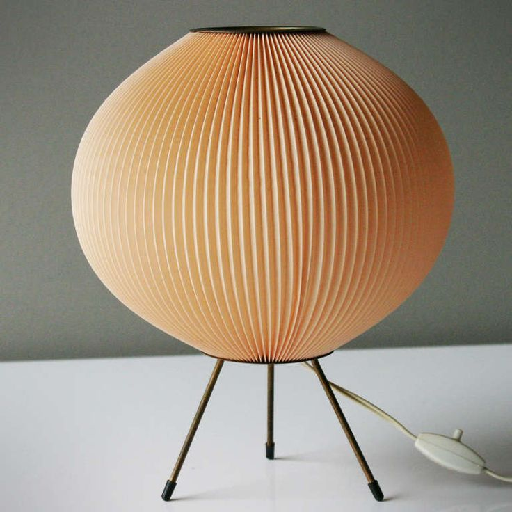 Mid Century Table Lamp Attributed to Rispal France | Celluloid rhodoïd) on a small brass tripod; height 12.6 in. (32 cm), diameter 10.2 inches (26 cm)