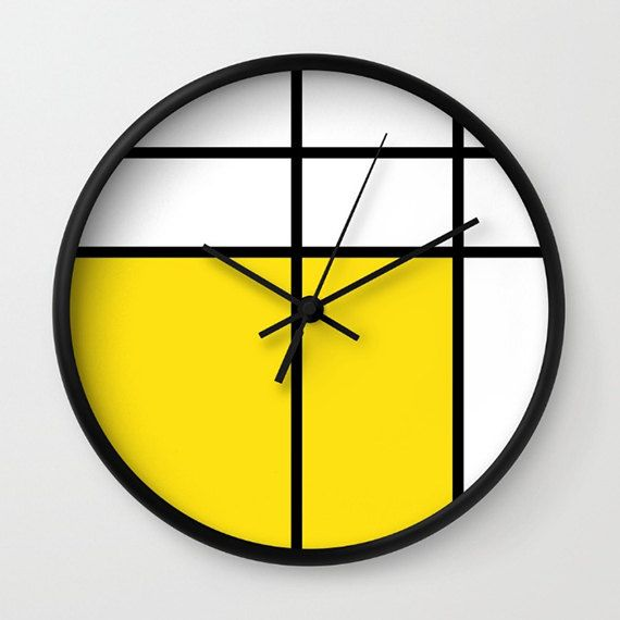mondrian 3 yellow wall clock  unique wall clocks  10