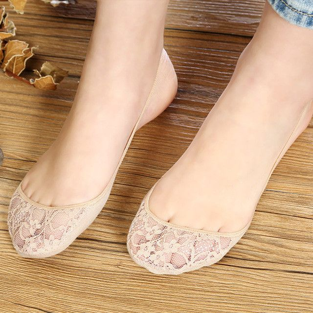 Women's Summer Cotton Mouth Invisible Half Sock Slippers Pad Sexy Shallow Lace Halter Socks Peds Liners