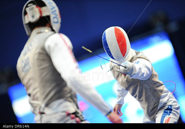 Paris, France. 18th Jan, 2014. International Fencing championships. James Davis (Gbr) versus Erwan Le Pechoux (Fra) © Action Plus Sports/Alamy Live News