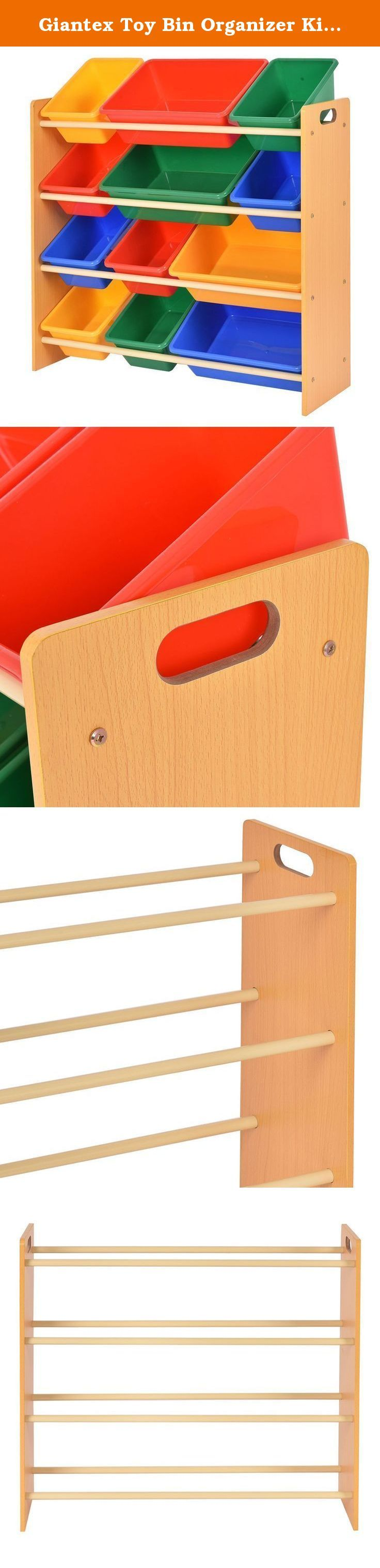 Giantex Toy Bin Organizer Kids Childrens Storage Box Playroom Bedroom Shelf Drawer. Babys Is Always Throw Toys, Building Blocks Or Toy Cars Everywhere.This Is OurToy Bin Organizer,Which Will Be A Great Solution For Keeping Your Kids Toys Organised. It Is Made Of Wood And Comes With Removable Colorful Bins.