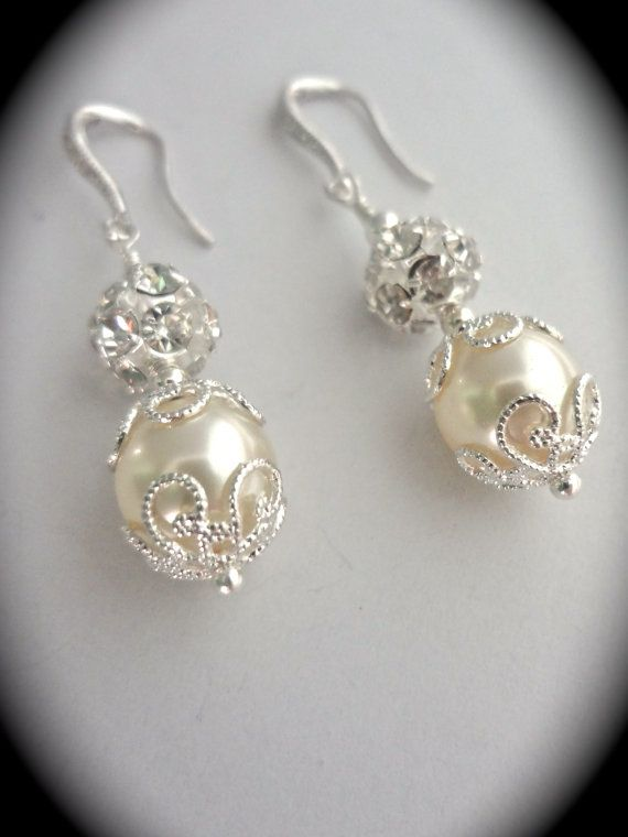 Pearl earrings Bridal jewelry Rhinestones by QueenMeJewelryLLC