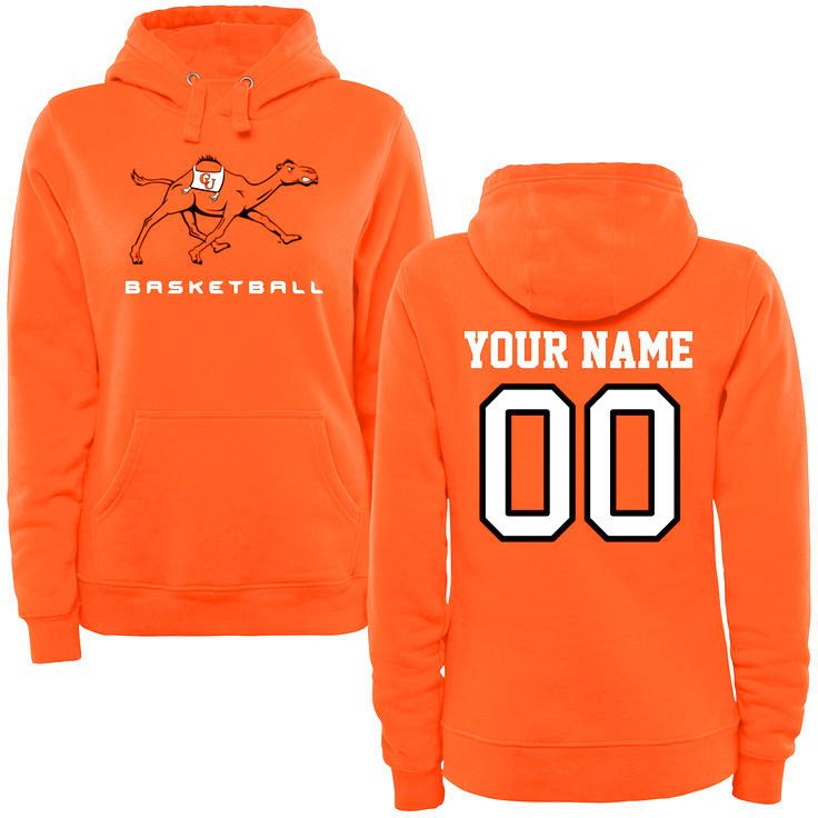 Campbell Fighting Camels Women's Personalized Basketball Pullover Hoodie - Orange - $69.99
