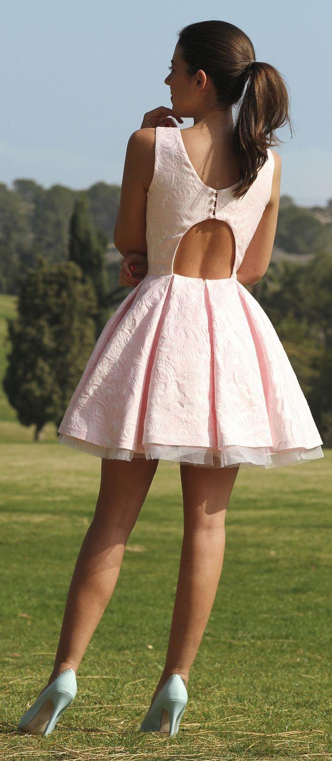 Silvia Navarro Coral Open Back New Collection Skater Dress by 1sillaparamibolso