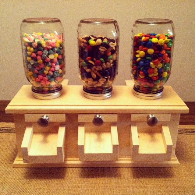 Mason Jar Candy Dispensers made from pine and poplar. # ...