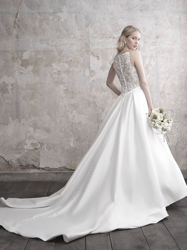Madison James Mj458 Beaded Illusion Back Wedding Dress With Buttons All The Way Down Wedding Dresses Madison James Wedding Dress Wedding Dress Long Sleeve