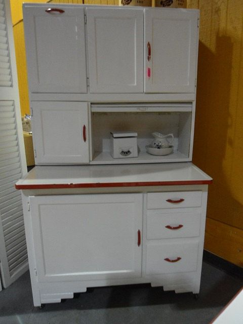 Antique Hoosier Cabinet Red And White 1941 Pinterest