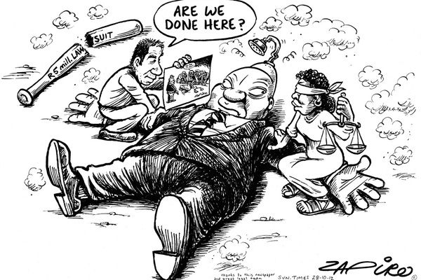 Zapiro and Jacob...It appears Jacob is concerned about his day in court. You can see him slinking away with his tail between his legs.