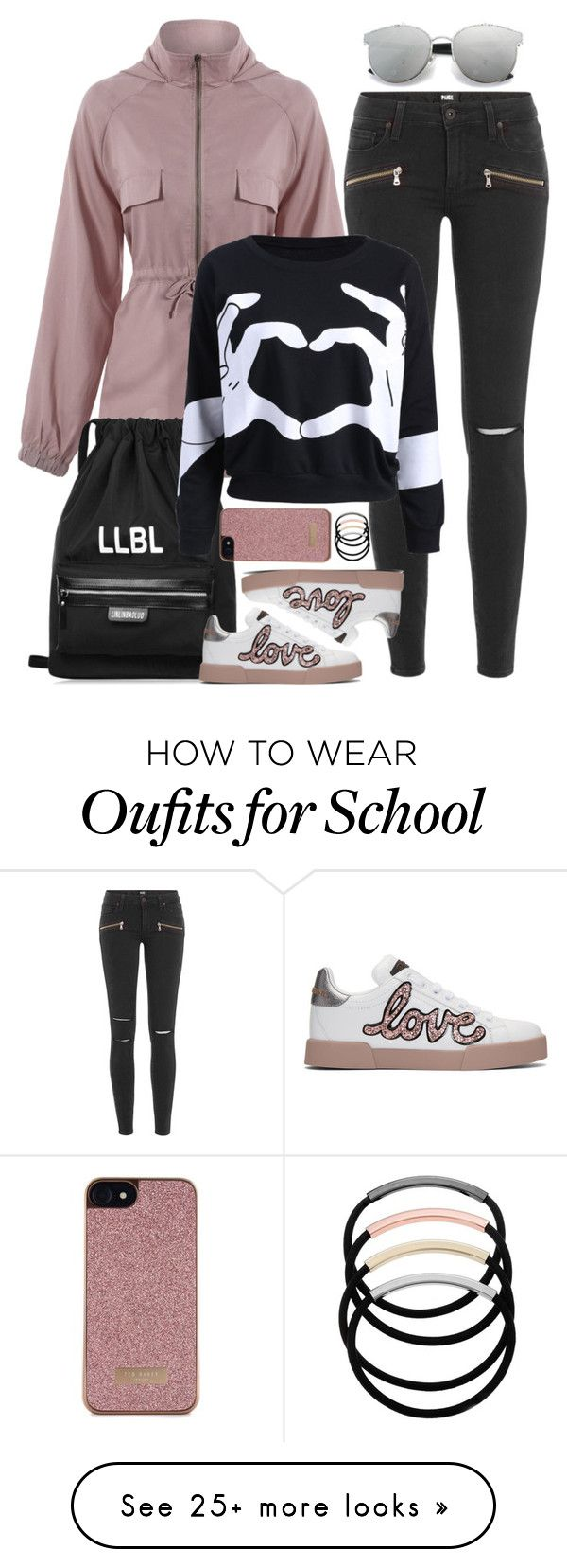 """Campus Chic: First Day of School"" by beebeely-look on Polyvore featuring Paige Denim, Dolce&Gabbana, Ted Baker, L. Erickson, BackToSchool, outfit, sammydress, schooloutfit and back2school"
