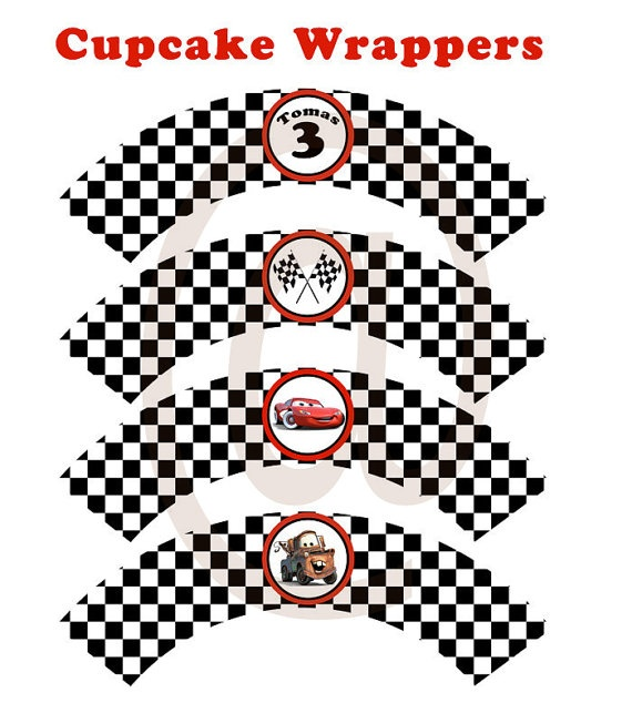 Disney CARS Cupcake Wrappers by BirthdayPartyDIY on Etsy, $4.00