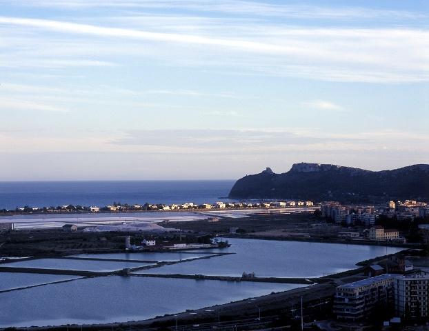 View in Cagliari: Sella del Diavolo (Davil's saddle) and the city saltpan