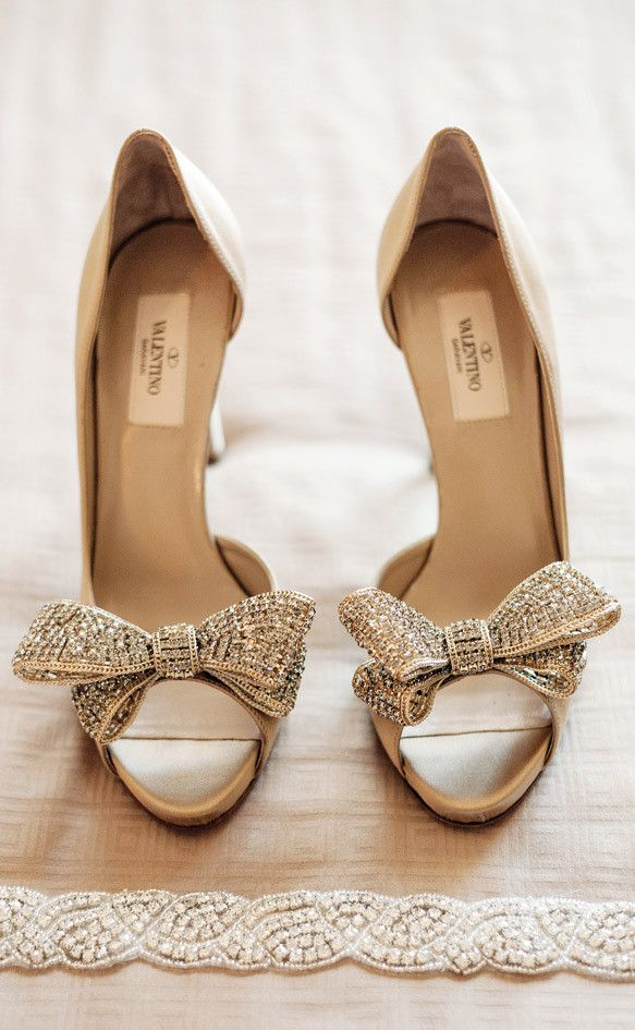 Valentino Gold Bow Tie Peep-Toe Bridal Shoes | Wedding ...