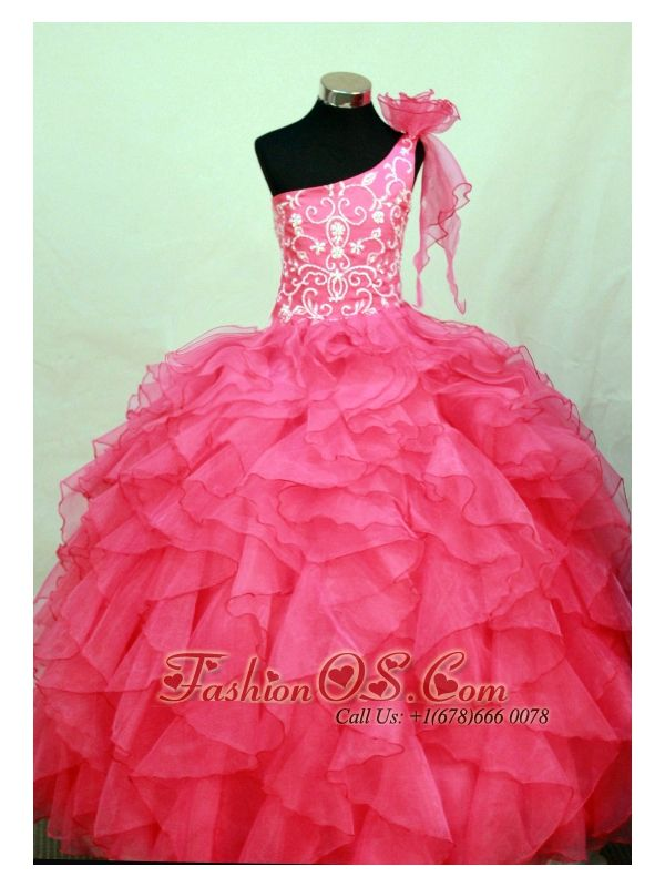 Perfect Hot Pink One Shoulder Neckline Flower Girl Pageant Dress With Embroidery and Flower Decorate Organza