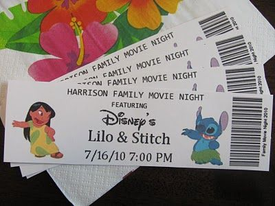 Bring over a movie and these tickets then make a snack stand and have them pay it with fake money. so going to do this sometime!   Family Movie Night ideas for a lot of Disneys along with themed dinners, tickets, etc