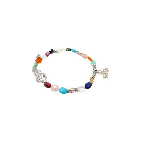 Multicolor gemstone stretch bracelet in 925 sterling silver.