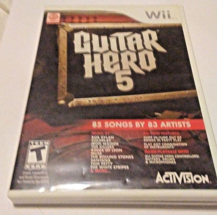 Guitar hero 5 nintendo wii game case instruction manual