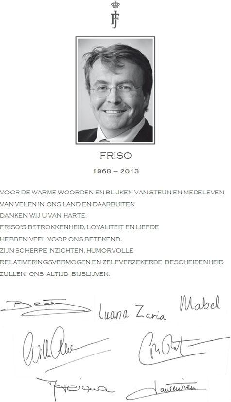 Dankwoord koninklijke familie (overlijden prins Friso)