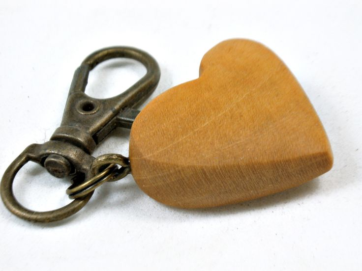 LV-3676 West Indie Satinwood Wooden Heart Shaped Charm, Keychain, Wedding Favor-HAND CARVED