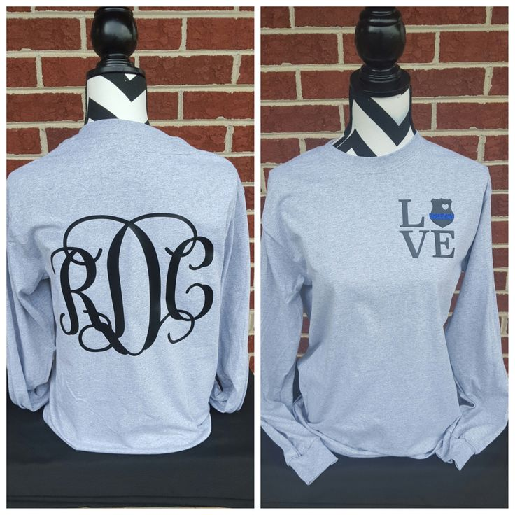Police Badge Love Long Sleeve Shirt-Vine Monogram On Back. Police Wife. Police Girlfriend. Police Officer. Police Shirt. Thin Blue Line. by ElleQDesigns on Etsy https://www.etsy.com/listing/247309391/police-badge-love-long-sleeve-shirt-vine