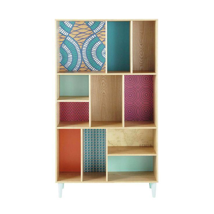 Wooden bookcase, multicoloured W 100cm Bamako   Maisons du Monde